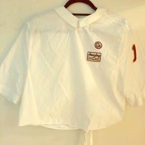 Zara white button up patch blouse